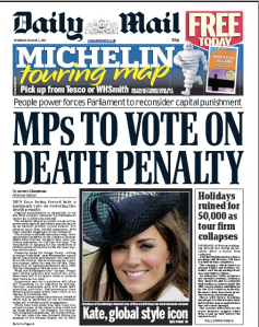 Daily Mail front page 4th August 2011